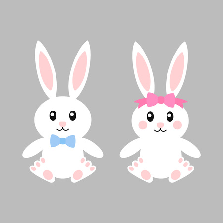 Happy easter bunnies with bows - vector illustration. Cute bunny girl and boy. White rabbit isolated. Cartoon character.