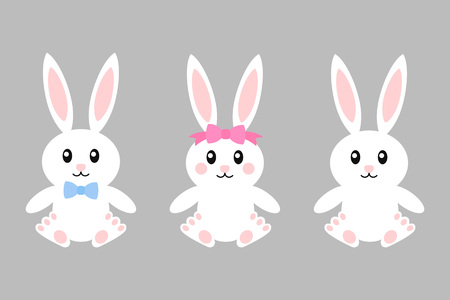 Happy easter bunny - vector set. Bunnies with bows girl and boy. Cute bunny. White rabbit isolated. Cartoon character.
