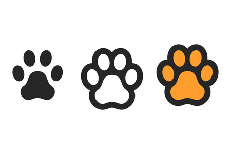 Dog paw print. Footprint. Vector icons isolated on white backgroung Ilustração