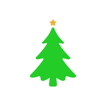 Christmas tree - flat vector icon. Christmas tree silhouette. Fir tree simple vector illustration isolated on white background