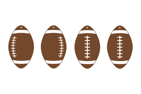 American football earrings. Rugby. Sport ball leather earring templates. Vector illustration