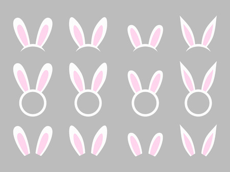 Bunny ears - vector collection. Easter bunny headband. Easter bunny ears mask. Hare ears head accessory. Vector illustration isolated