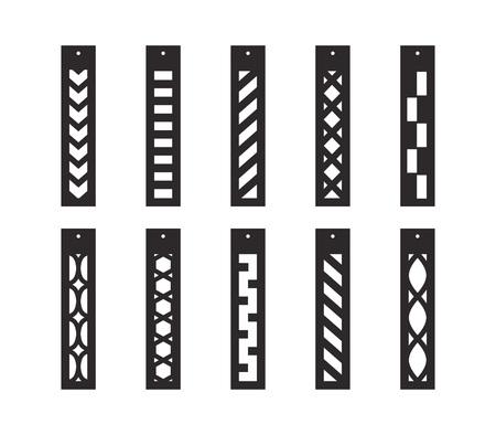 Orecchini pendenti a barra con motivo. Pendente lungo. Orecchini con frange lunghe ornamentali. Modello tagliato al laser. Orecchini con foro. Creazione di gioielli. Illustrazione vettoriale