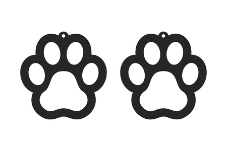 Paw earrings. Dog tag for collar. Laser cut template. Jewelry making. Vector illustration