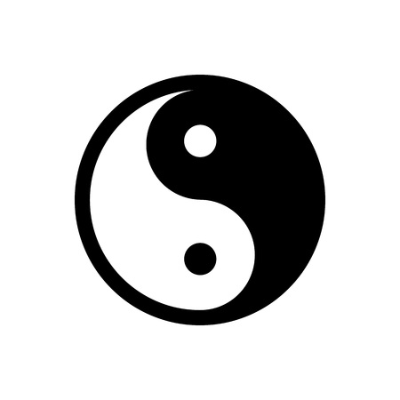 Yin Yang - vector icon. Black and white symbol of harmony and balance. Isolated on white background