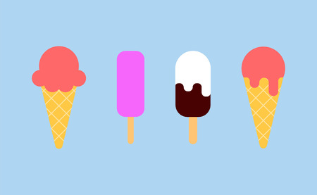 Ice cream - vector icons. Collection ice-cream cones. Cartoon flat vector illustrations isolated Ilustração