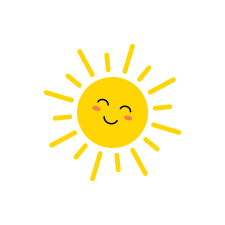 Sun - vector icon. Cute yellow sun with face. Emoji. Summer emoticon. Vector illustration isoalted on white background.