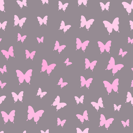 Butterfly vector background. Seamless pattern with pink butterflies. Flying butterflies. Butterflies trail. Vector illustration Ilustração