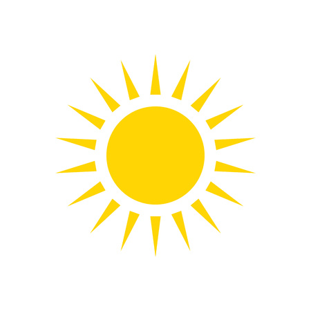 Sun - vector icon. Yellow shining sun - flat vector illustration isoalted on white background.
