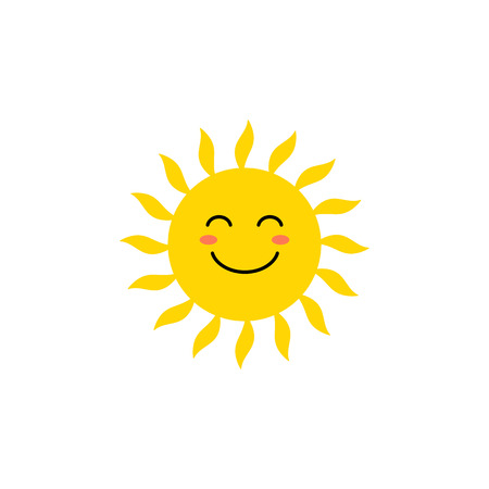 Sun - vector icon. Cute yellow sun with happy face. Emoji. Summer emoticon. Vector illustration isoalted on white background. Ilustração
