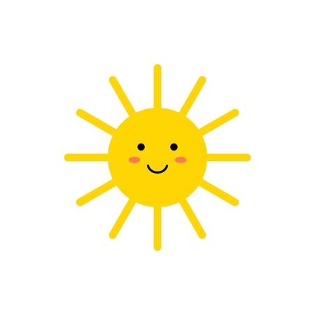 Sun - vector icon. Cute yellow sun with smiling face. Emoji. Summer emoticon. Vector illustration isoalted on white background.