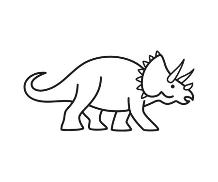 Triceratops vector contour. Cute outline dinosaur isolated on white background.