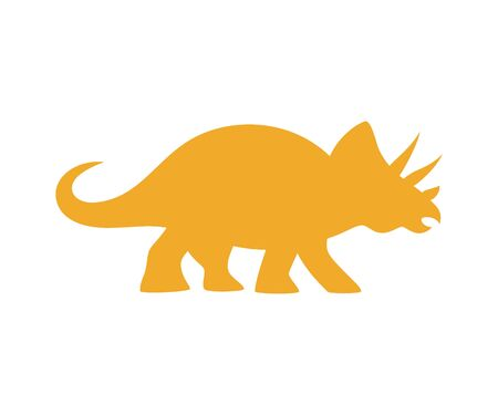 Triceratops vector silhouette. Cute dinosaur orange silhouette isolated on white background.