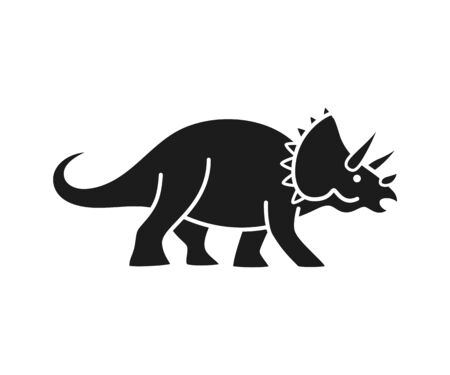Triceratops vector silhouette. Cute dinosaur black silhouette isolated on white background. 写真素材 - 126518093