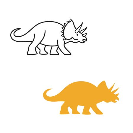 Triceratops vector silhouette and contour. Cute dinosaur isolated on white background.