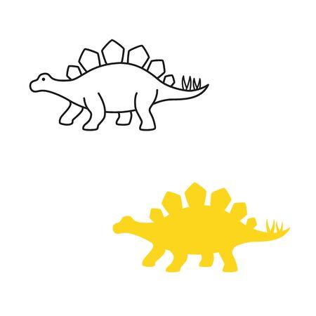 Stegosaurus vector silhouette and contour. Dinosaur stegosaurus isolated on white background Illustration