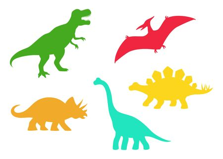Siluetas vectoriales de dinosaurios: T-rex, Brachiosaurus, Pterodactyl, Triceratops, Stegosaurus. Lindos dinosaurios planos aislados sobre fondo blanco Ilustración de vector