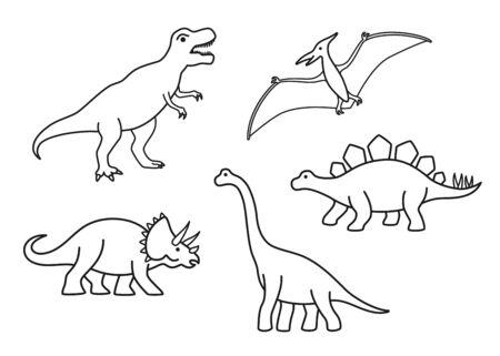 Dinosauri di contorno vettoriale - T-rex, Brachiosauro, Pterodattilo, Triceratopo, Stegosauro. Simpatici dinosauri piatti isolati su sfondo bianco