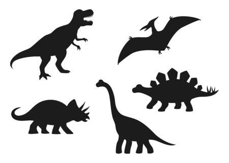 Siluetas vectoriales de dinosaurios: T-rex, Brachiosaurus, Pterodactyl, Triceratops, Stegosaurus. Lindos dinosaurios planos aislados sobre fondo blanco