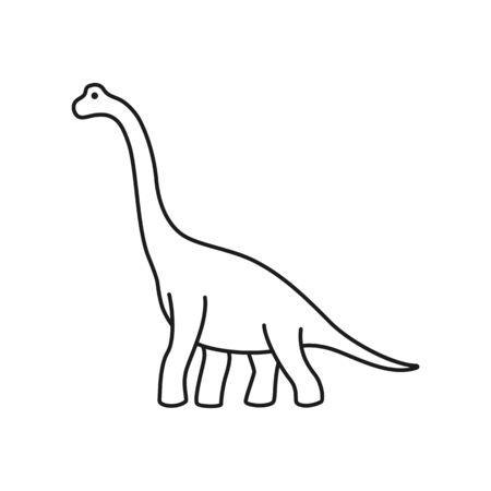 Brachiosaurus vector contour. Sauropod outline dinosaur. Diplodocus isolated on white background