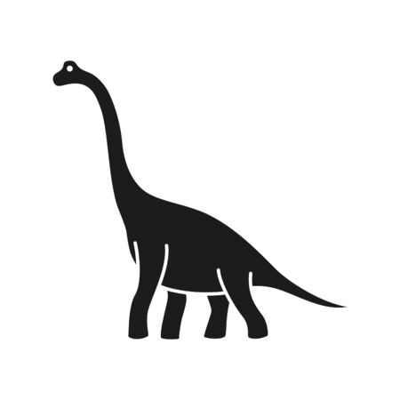 Brachiosaurus vector silhouette. Sauropod dinosaur. Diplodocus black silhouette isolated on white background