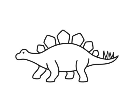 Stegosaurus vector contour silhouette. Dinosaur stegosaurus black contour isolated on white background