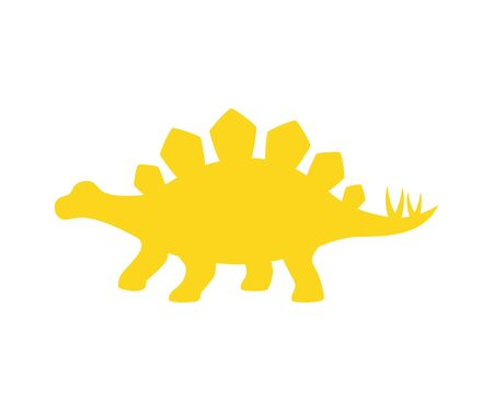 Stegosaurus vector silhouette. Dinosaur stegosaurus yellow silhouette isolated on white background