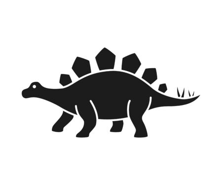 Stegosaurus vector silhouette. Dinosaur stegosaurus black silhouette isolated on white background Illustration