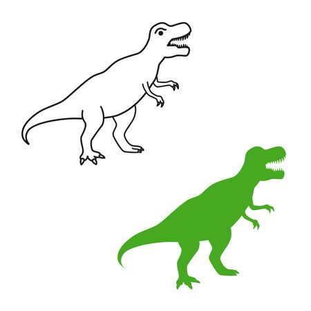 Dinosaur T-Rex vector silhouette and contour. Tyrannosaurus isolated on white background.