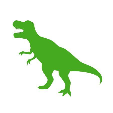 Dinosaur T-Rex vector silhouette. Roaring green tyrannosaurus silhouette isolated on white background. Illustration