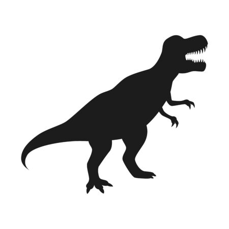 Dinosaur T-Rex vector silhouette. Tyrannosaurus black silhouette isolated on white background. Imagens - 126518138