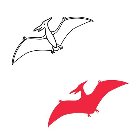 Pterodactyl vector silhouette and contour. Pteranodon dinosaur. Pterosaur isolated on white background Ilustracja