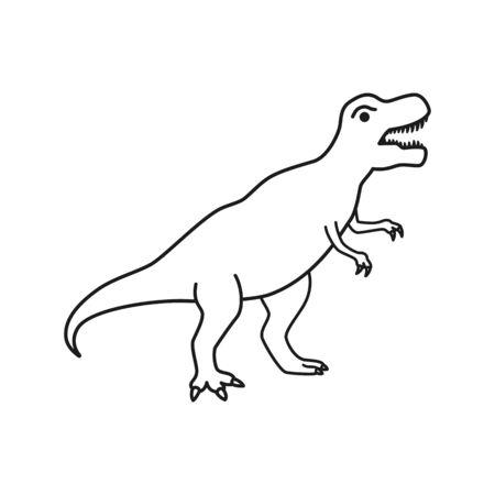 Dinosaur T-Rex vector silhouette. Tyrannosaurus black contour silhouette isolated on white background. Illustration