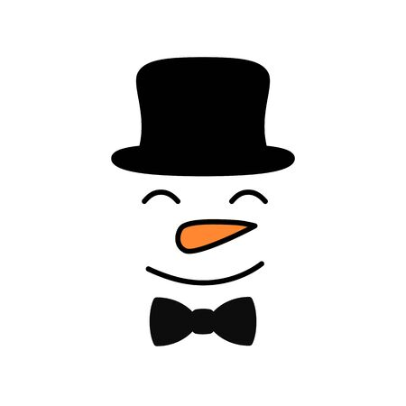 Cute snowman face with hat - vector. Snowman gentleman. Snowman head. Vector illustration isolated on white background.
