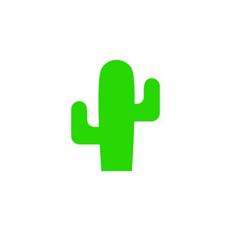 Cactus vector silhouette. Flat cactus icon. Cactus plant isolated on white background.