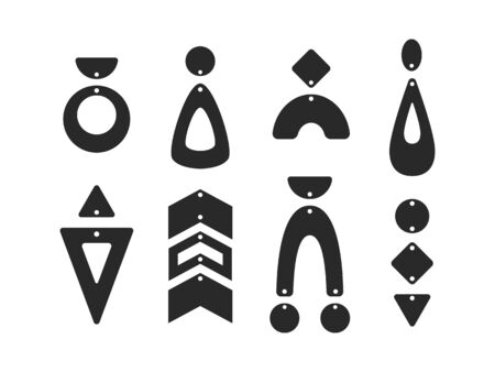 Geometric earring templates. Boho tear drop earrings. Pendant. Laser cut template. Earrings with hole. Jewelry making. Vector illustration