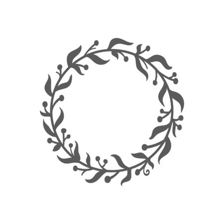 Christmas wreath. Laurel wreath. Hand drawn vector round frame for invitations, postcards, posters and more. Vector illustration isolated on white background. Ilustração