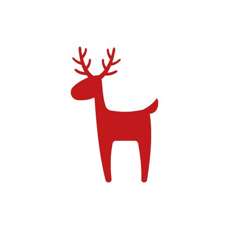 Reindeer - flat vector illustration. Christmas deer. Cute reindeer icon isolated on white background. Imagens - 135160501
