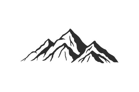 Mountain silhouette - vector icon. Rocky peaks. Mountains ranges. Black and white mountain icon isolated