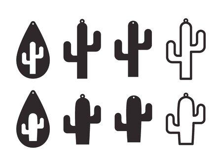 Modelli di orecchini di cactus. Orecchini cactus. Orecchini a goccia. Pendente. Modello tagliato al laser. Orecchini con foro. Creazione di gioielli. Illustrazione vettoriale