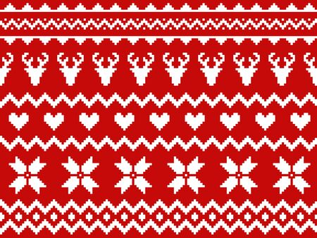 Nordic traditional seamless pattern. Norway Christmas sweater. Red and white knitted Christmas pattern with deers, hearts and snowflakes. Hygge. Scandinavian winter knitting pattern