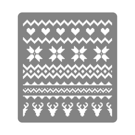 Stencil for painting with nordic traditional seamless pattern. Norway Christmas sweater with deers, hearts and snowflakes - vector stencil template. Hygge. Scandinavian winter knitting pattern Ilustracja