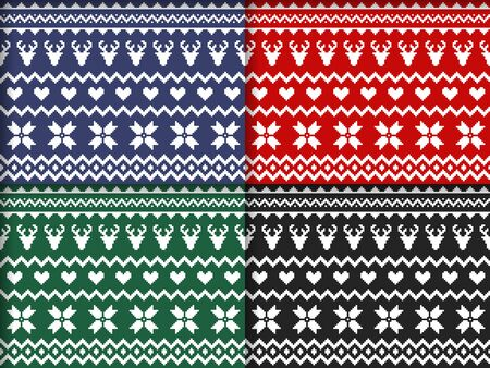 Nordic traditional seamless patterns in different colors. Norway Christmas sweater. Knitted Christmas pattern with deers, hearts and snowflakes. Hygge. Scandinavian winter knitting pattern