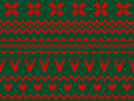 Nordic traditional seamless pattern. Norway Christmas sweater. Red and green knitted Christmas pattern with deers, hearts and snowflakes. Hygge. Scandinavian winter knitting pattern