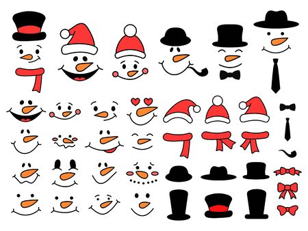 Cute snowman faces and accessories - vector collection. Snowman bundle. Snowman heads. Vector illustration isolated on white background
