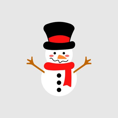 Cute snowman with hat and scarf - vector. Snowman head. Vector illustration isolated