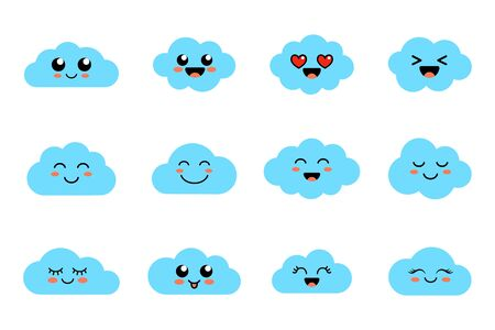 Funny clouds - vector collection. Set of clouds with emoji. cloud faces. Cute emoticons. Flat. Vector illustration isolated on white background. Ilustracja