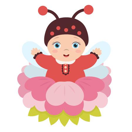 Schattige schattige baby zitten in een mooie bloem in een pak lieveheersbeestje met vleugels