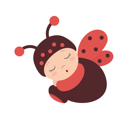 Slapende baby in een lieveheersbeestje kostuum met vleugels. Flat design.Flat stijl.