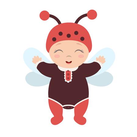 Gelukkige schattige baby gekleed als een lieveheersbeestje staan en glimlachen. Vlakke stijl.